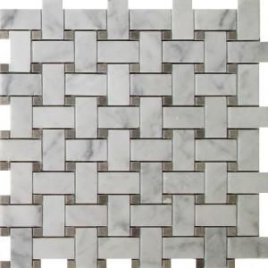 Đá Mosaic Bianco Carrara Basketweave