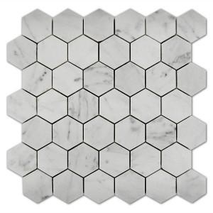 Đá Mosaic Bianco Carrara White Marble Hexagon